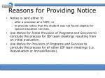 reasons for providing notice