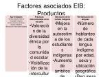 factores asociados eib productos