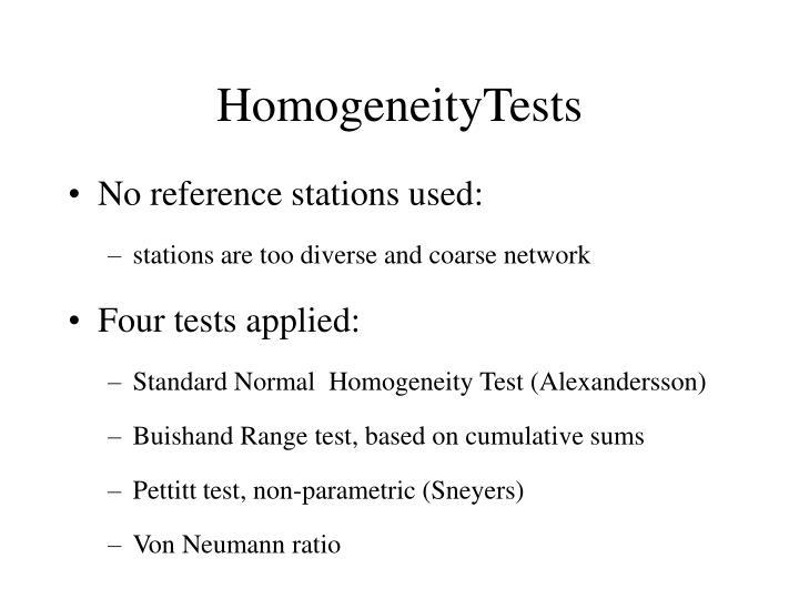 HomogeneityTests