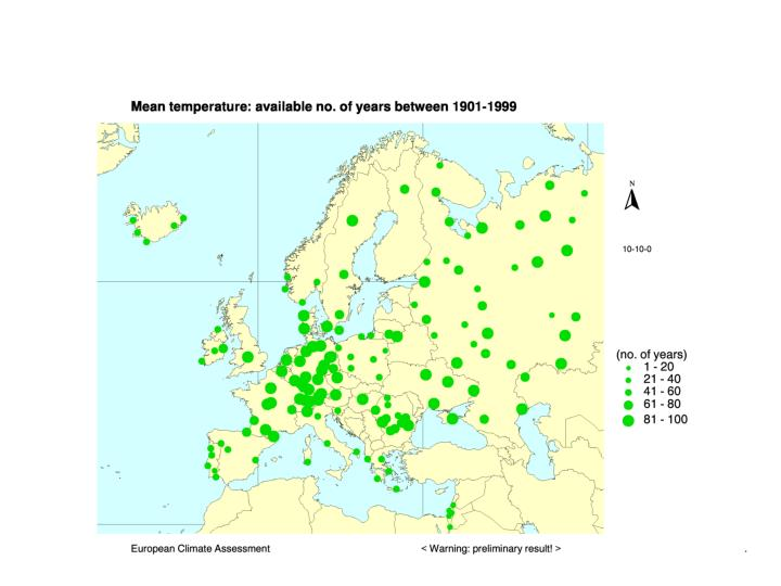Homogeneity of the eca temperature data