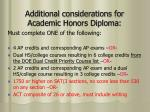 additional considerations for academic honors diploma