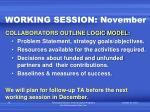 working session november
