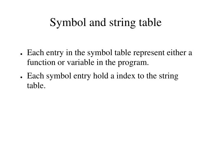 Each entry in the symbol table represent either a function or variable in the program.