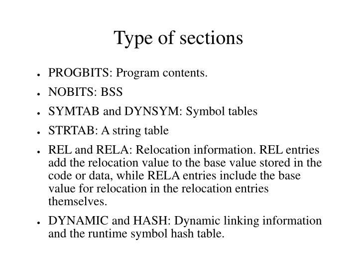 PROGBITS: Program contents.