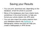 saving your results