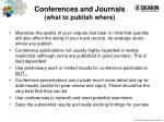 conferences and journals what to publish where