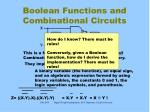 boolean functions and combinational circuits
