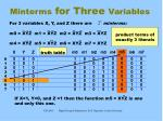 minterms for three variables