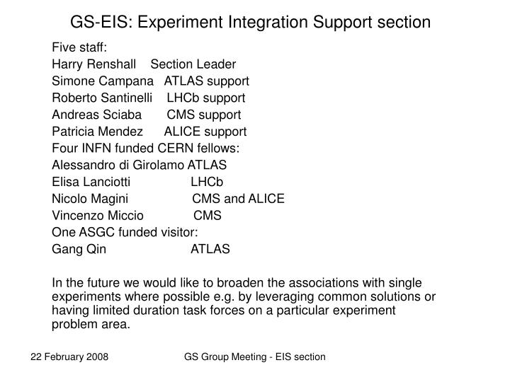 gs eis experiment integration support section n.
