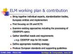 elm working plan contribution