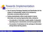 towards implementation