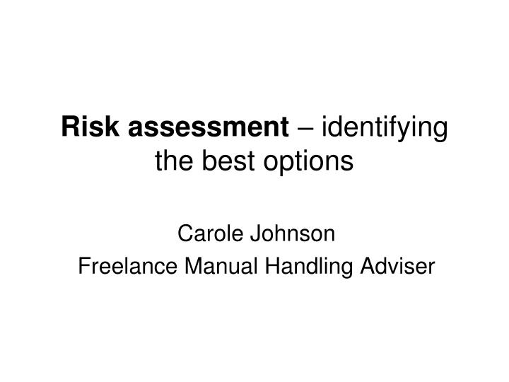 risk assessment identifying the best options n.