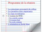 programme de la r union