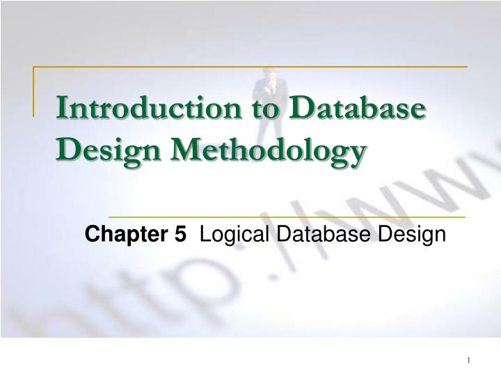 introduction to database design methodology n.