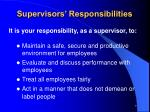 supervisors responsibilities