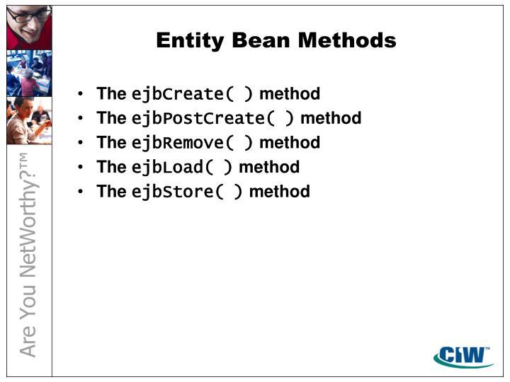 Entity Bean Methods