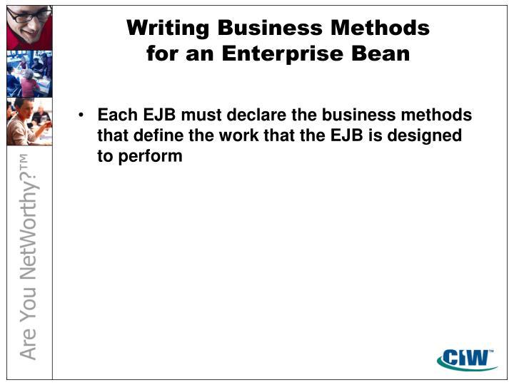 Writing Business Methods