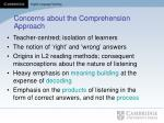 concerns about the comprehension approach