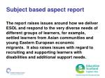 subject based aspect report