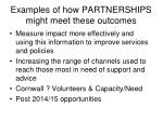 examples of how partnerships might meet these outcomes1
