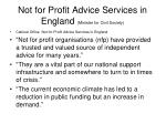 not for profit advice services in england minister for civil society