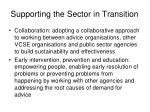 supporting the sector in transition
