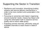 supporting the sector in transition1