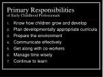 primary responsibilities of early childhood professionals