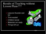 results of teaching without lesson plans
