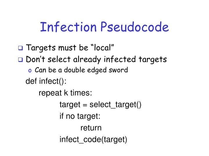 Infection Pseudocode