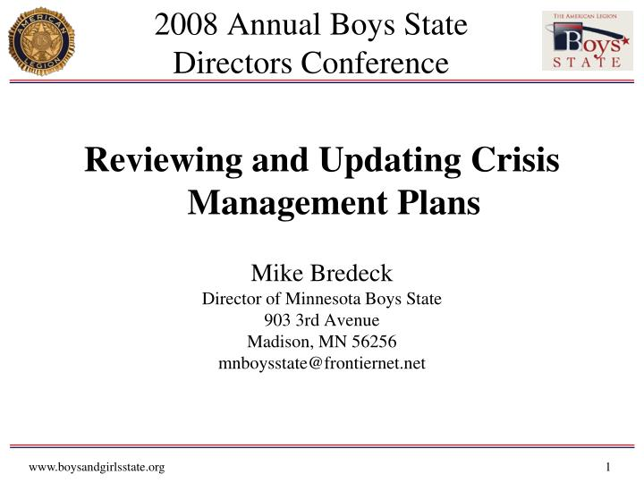 2008 annual boys state directors conference n.