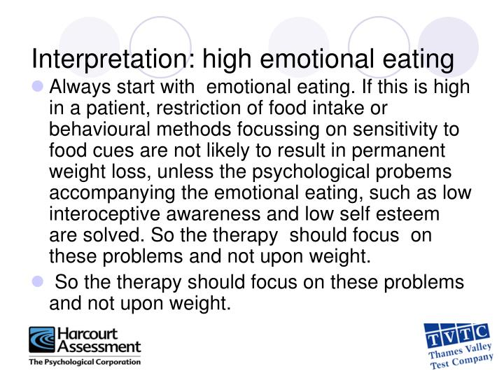 Interpretation: high emotional eating