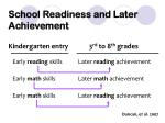 school readiness and later achievement