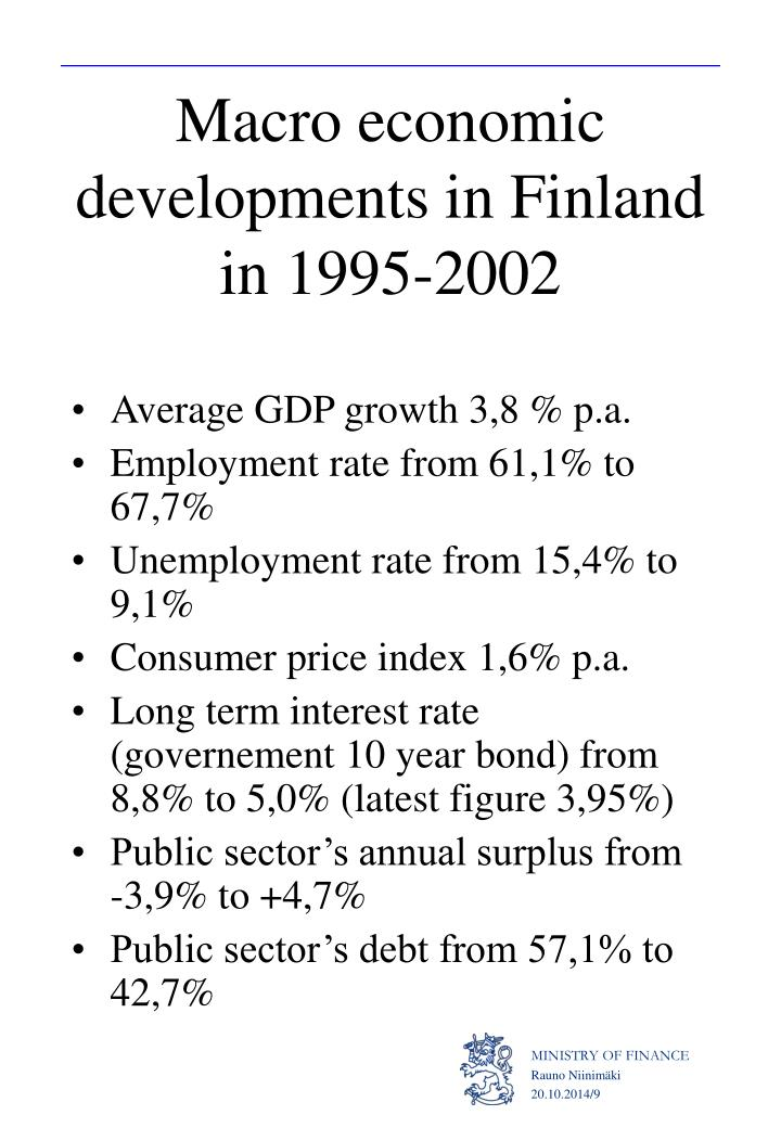 Macro economic developments in Finland in 1995-2002