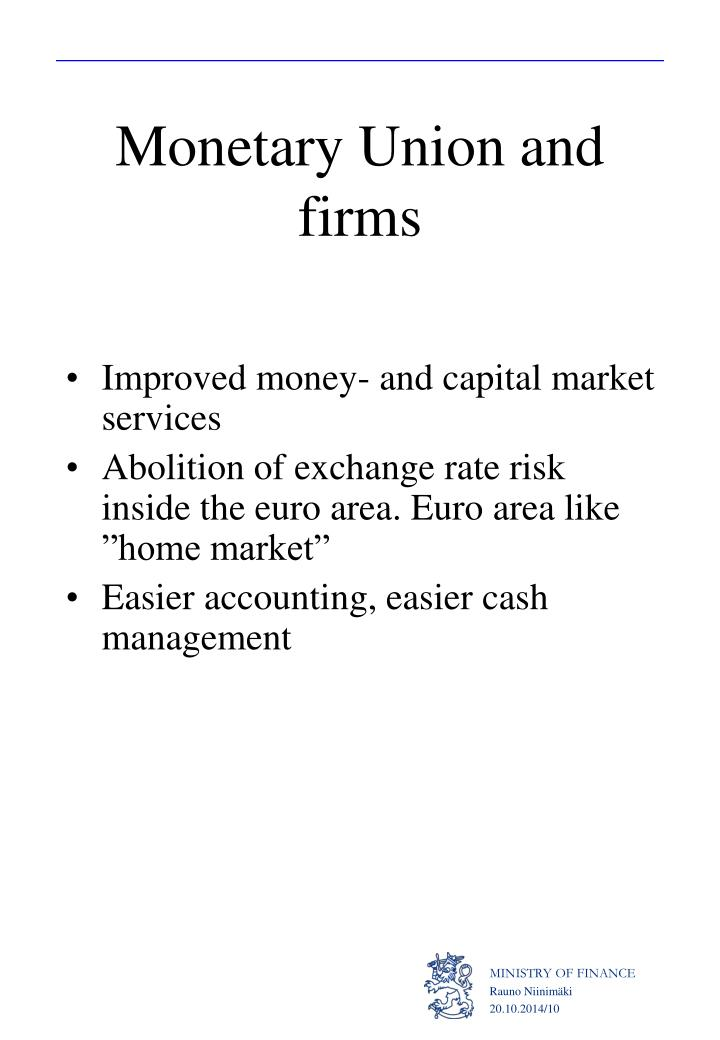 Monetary Union and firms