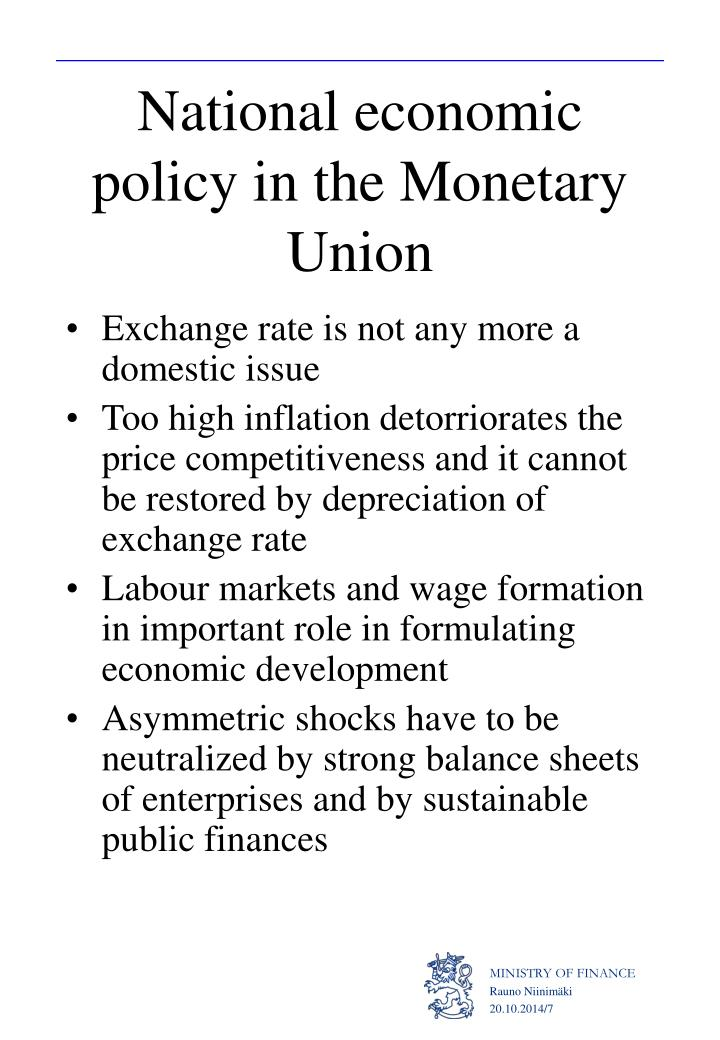National economic policy in the Monetary Union
