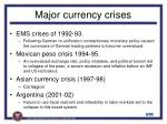 major currency crises