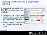making corrections to a processed fafsa