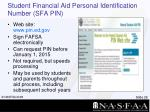 student financial aid personal identification number sfa pin