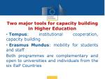 two major tools for capacity building in higher education