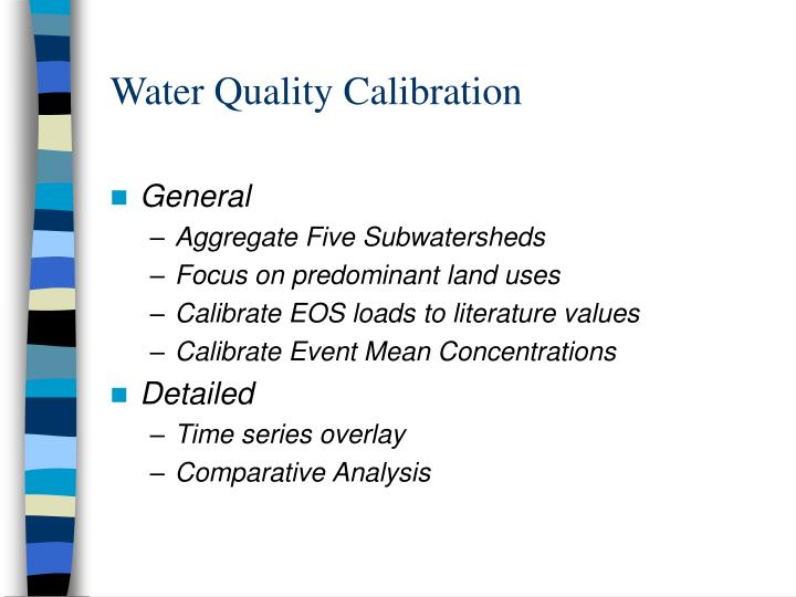 Water quality calibration