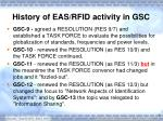 history of eas rfid activity in gsc