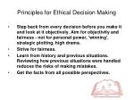 principles for ethical decision making