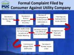 formal complaint filed by consumer against utility company