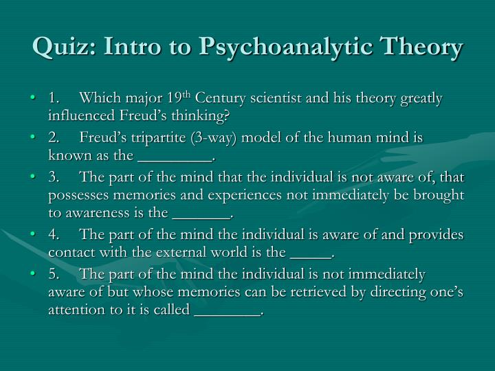 quiz intro to psychoanalytic theory n.