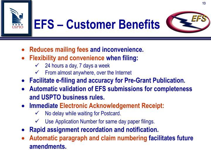 EFS – Customer Benefits