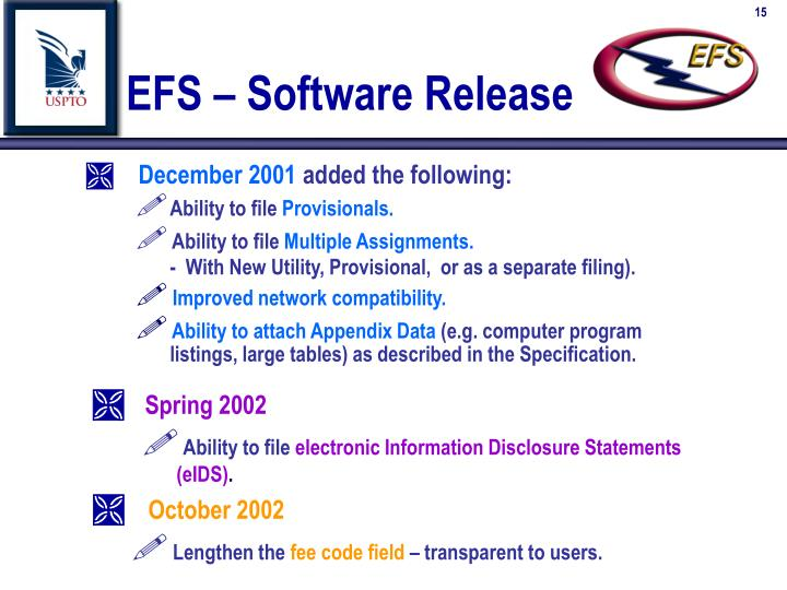 EFS – Software Release