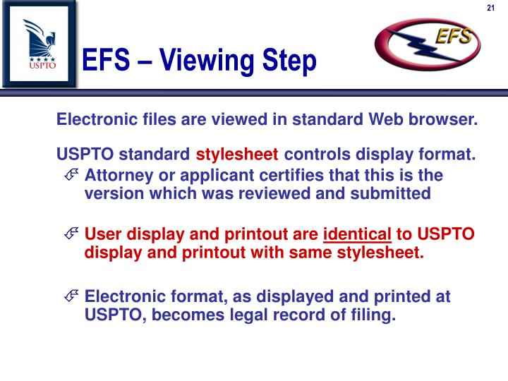 EFS – Viewing Step