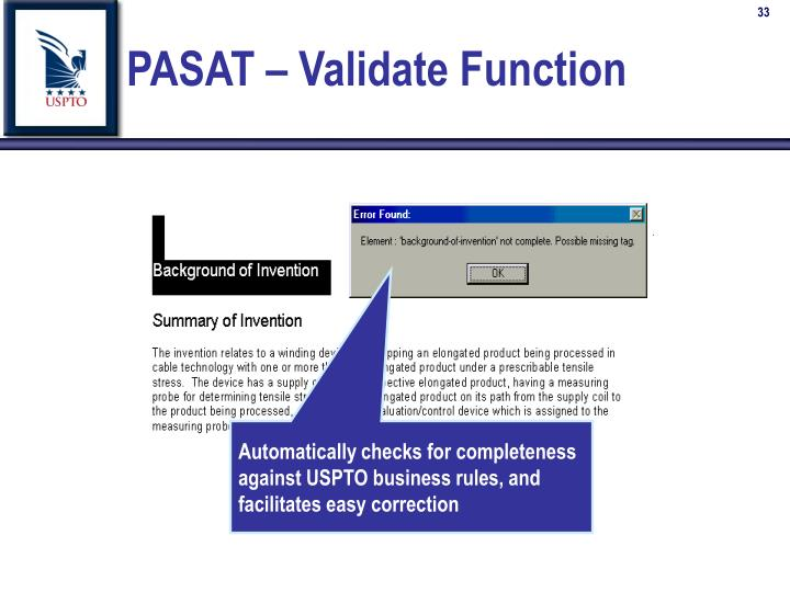 PASAT – Validate Function