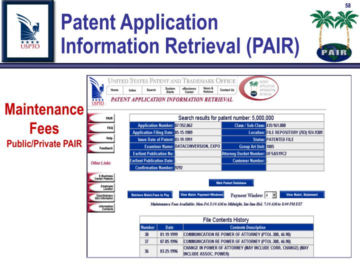Patent Application          Information Retrieval (PAIR)